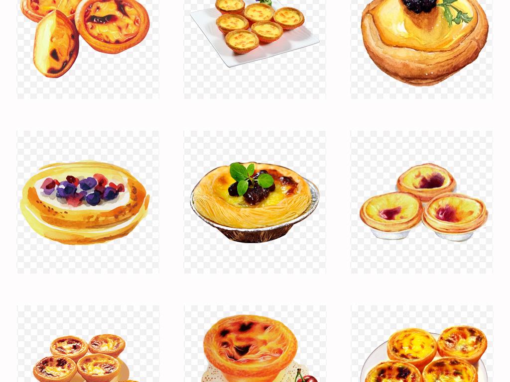 50款手绘美食蛋挞下午茶甜品海报设计png素材