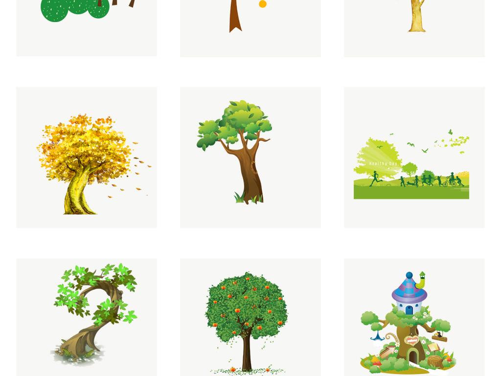手绘卡通树干矢量素材