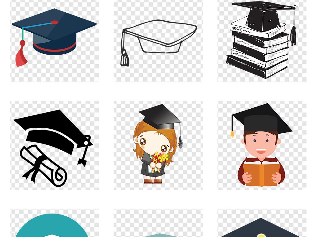 卡通小博士博士帽毕业季png免扣素材图片