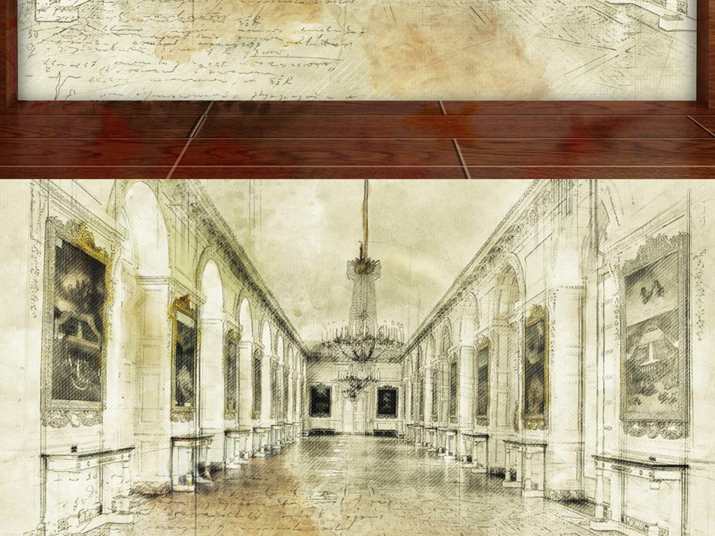 背景墙 电视背景墙 电视背景墙 > 手绘皇宫走廊大气素描  素材图片