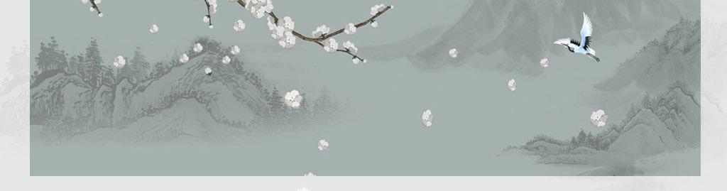 水墨山水画背景墙手绘梅花工笔画花鸟装饰画