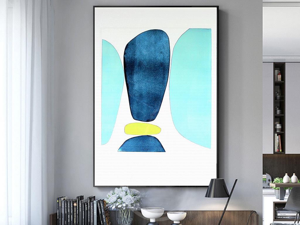 现代简约北欧清新手绘水彩客厅卧室装饰画