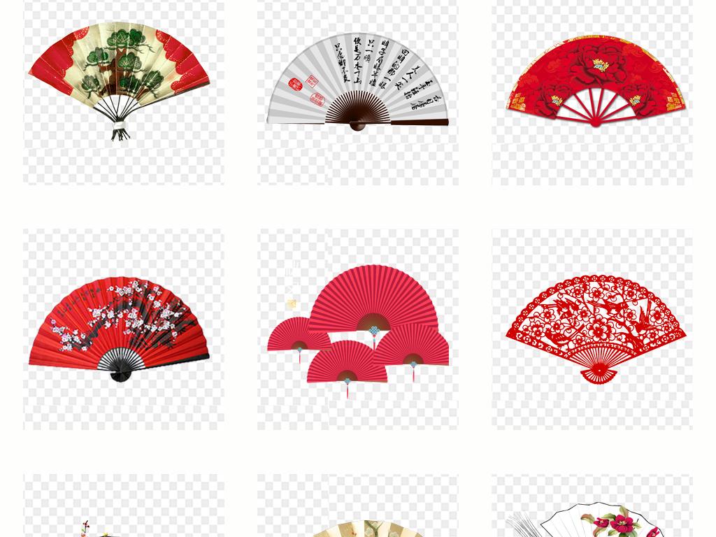 古风扇子水墨扇子红色扇子和风素材中国风古文化扇形复古边框花纹花边