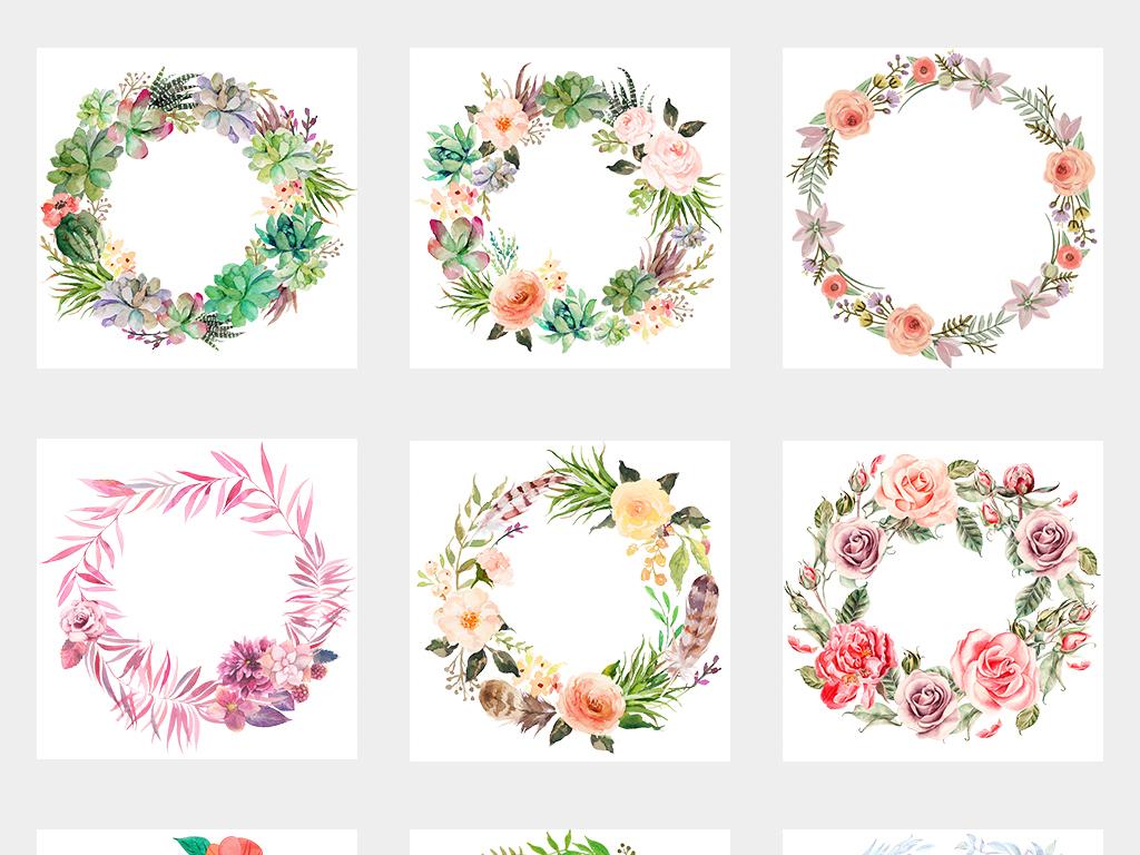 手绘小清新圆形花环边框海报素材背景png