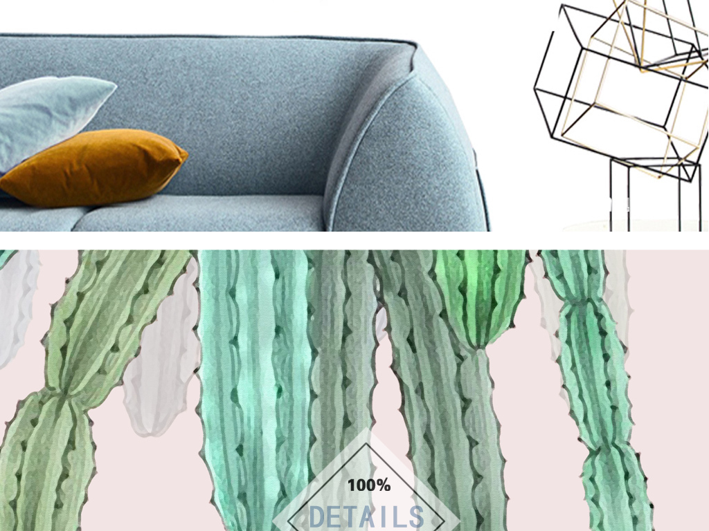 ins现代清新手绘植物北欧客厅装饰画三联图片设计素材