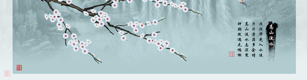 水墨画背景墙中式山水画手绘花鸟工笔画花鸟