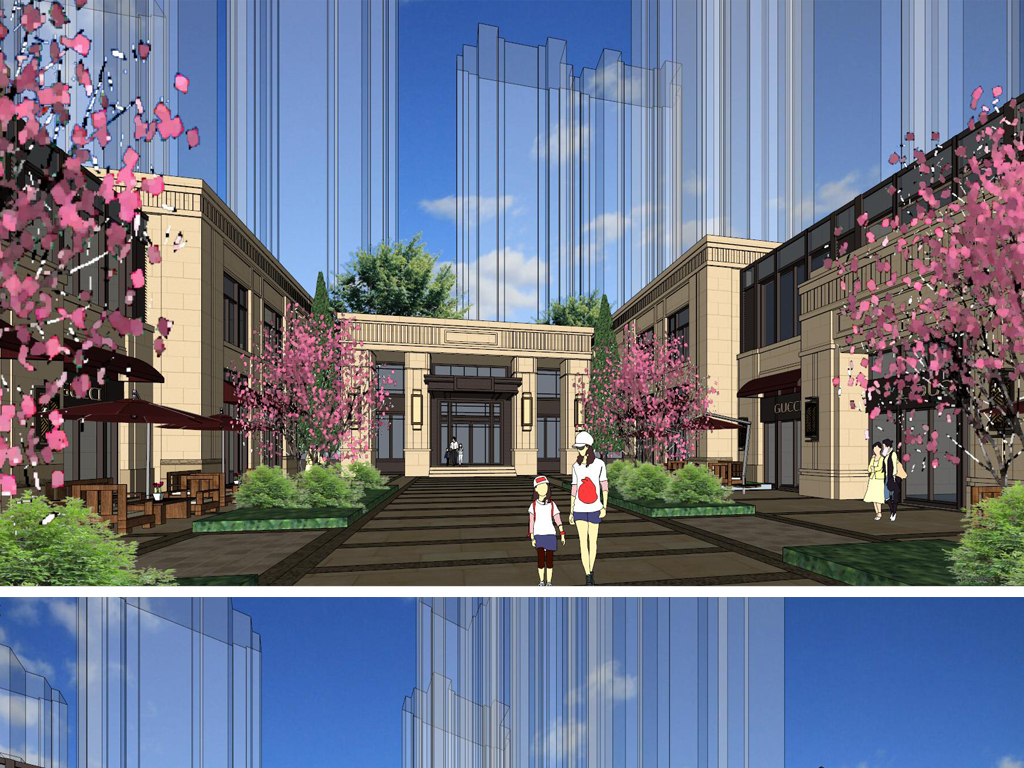 精品现代新古典风格沿街商业街建筑,景观设计方案su模型