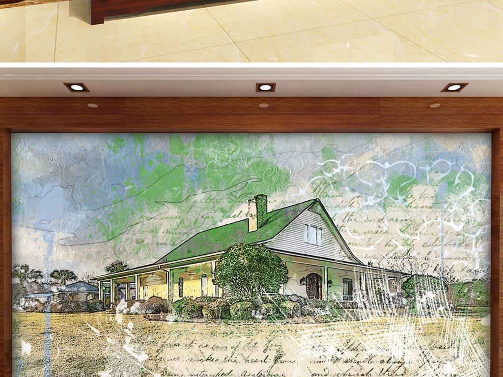 手绘农村牧场房子