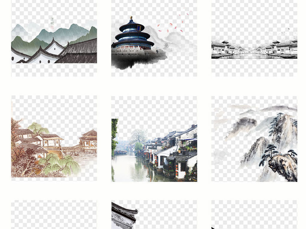 中国风手绘水墨江南水乡古建筑徽png素材