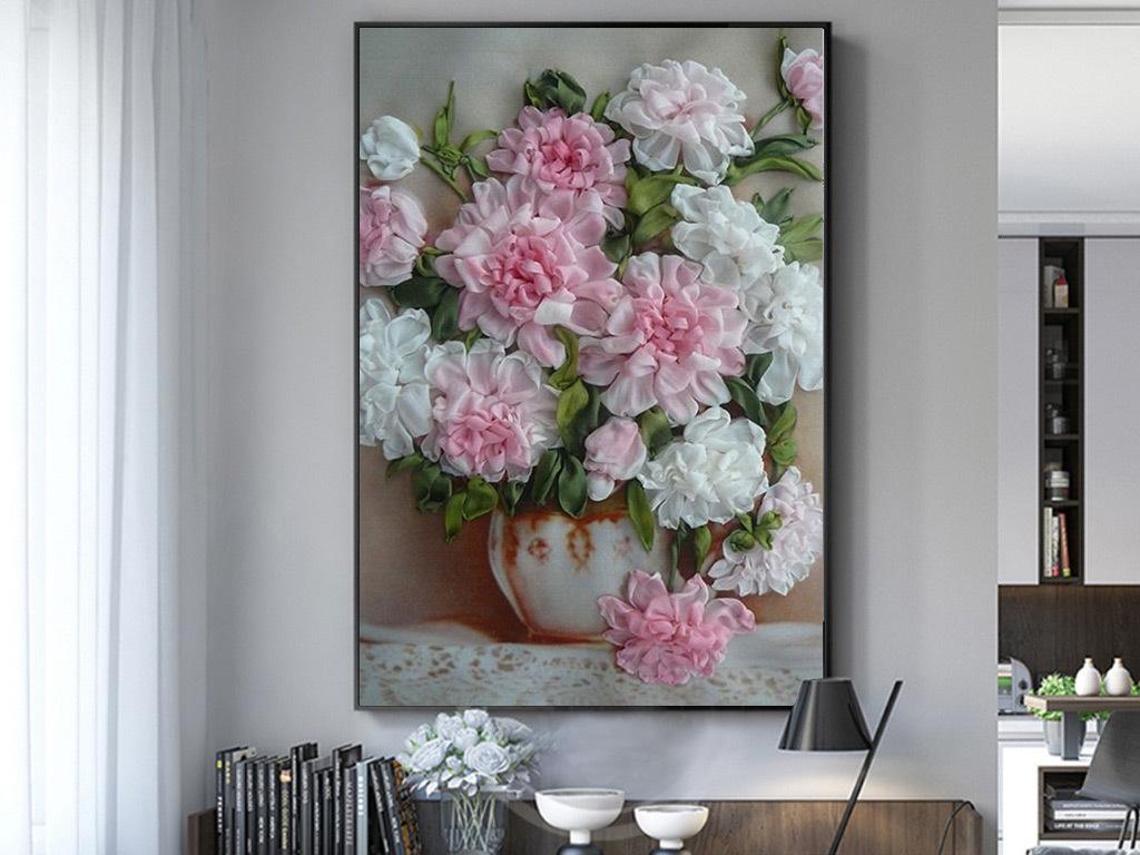 简约欧式复古花卉手绘油画客厅卧室装饰画图片