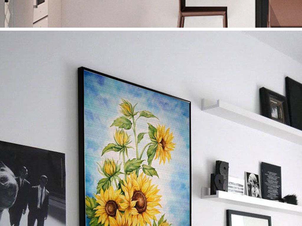 现代简约手绘油画北欧风格客厅卧室装饰画