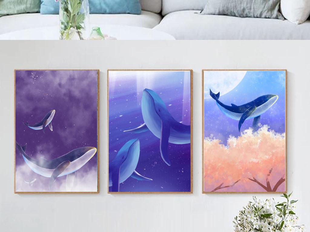 唯美现代手绘海豚小清新北欧装饰画无框画