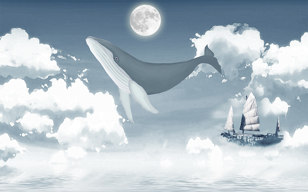 时尚手绘鲸鱼小船卧室背景墙