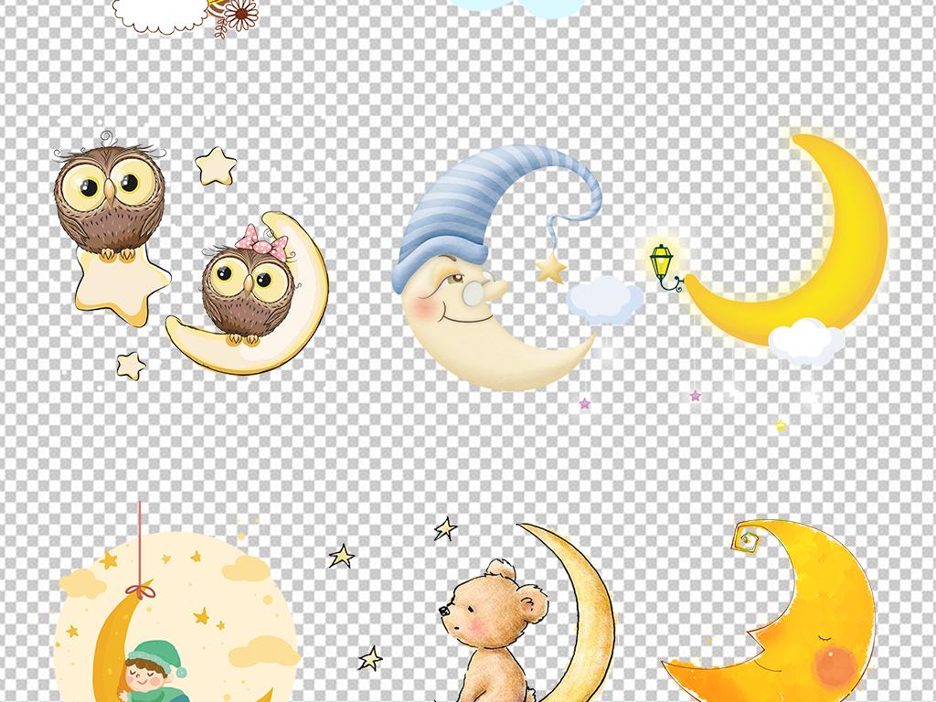 月亮元素卡通手绘发亮月亮海报png素材