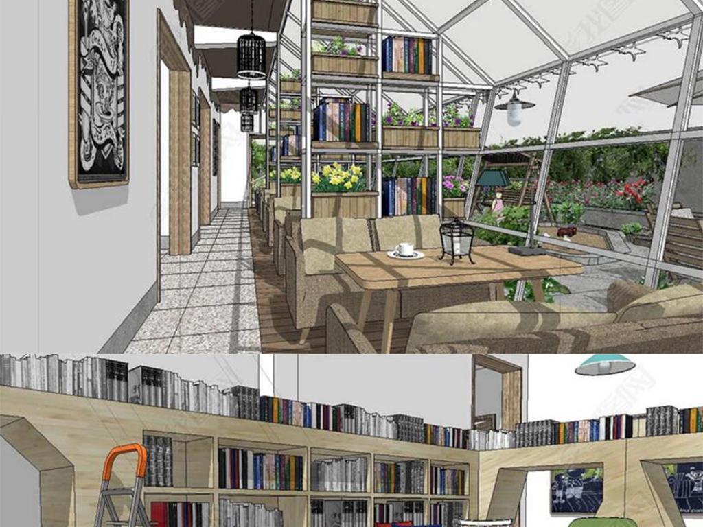 花园民宿书吧庭院su模型设计图下载(图片73.90mb)_库