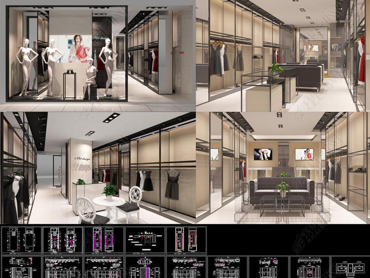 时尚女装店CAD施工图3DMAX