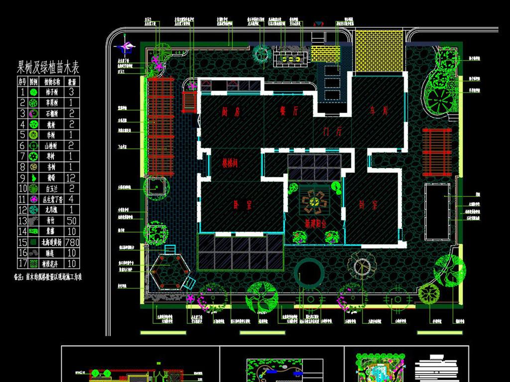 CAD庭院绿化设计 香山别墅庭院绿化平面图下载 图片4.34MB 园林