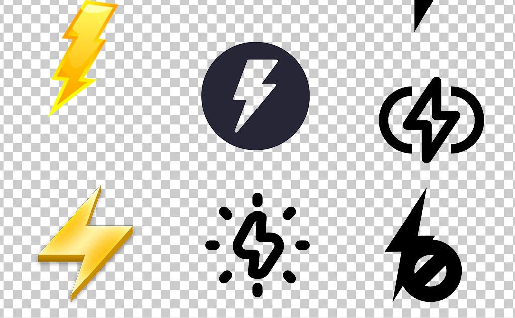 0530闪电金黄色红色卡通手绘可爱闪电元素简越黑白闪电标志素材免抠