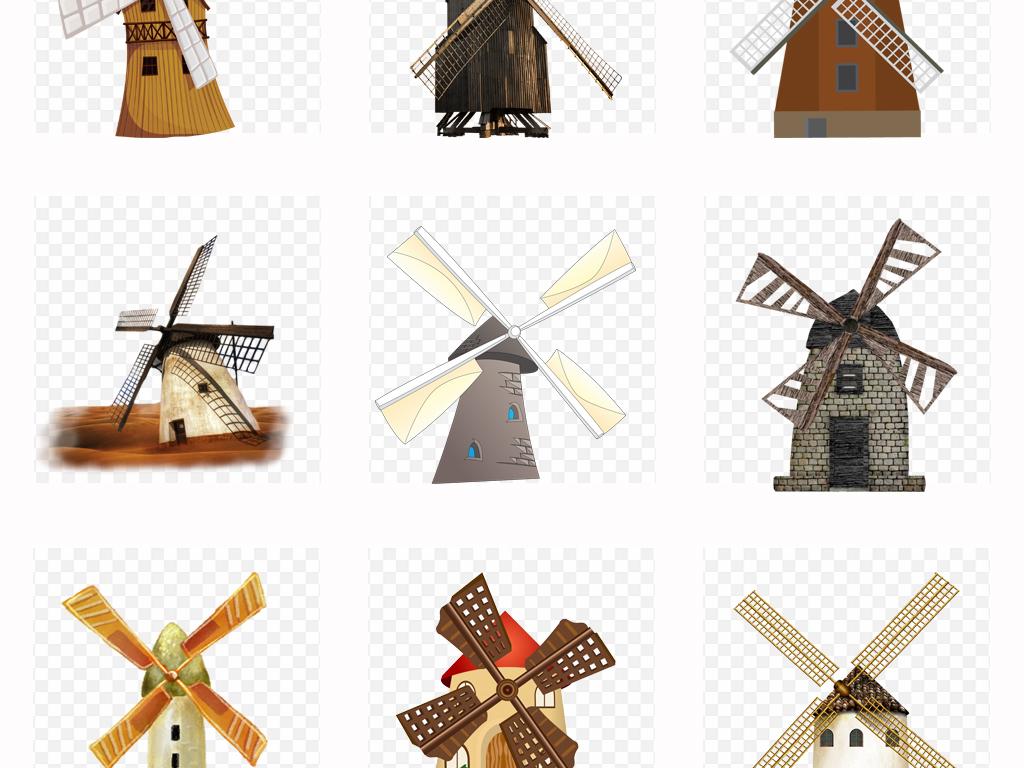 手绘可爱卡通风车水车装饰设计png免扣素材