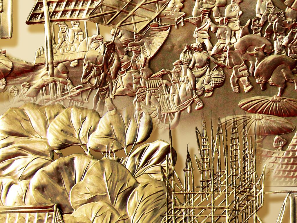 新中式浮雕古城装饰画