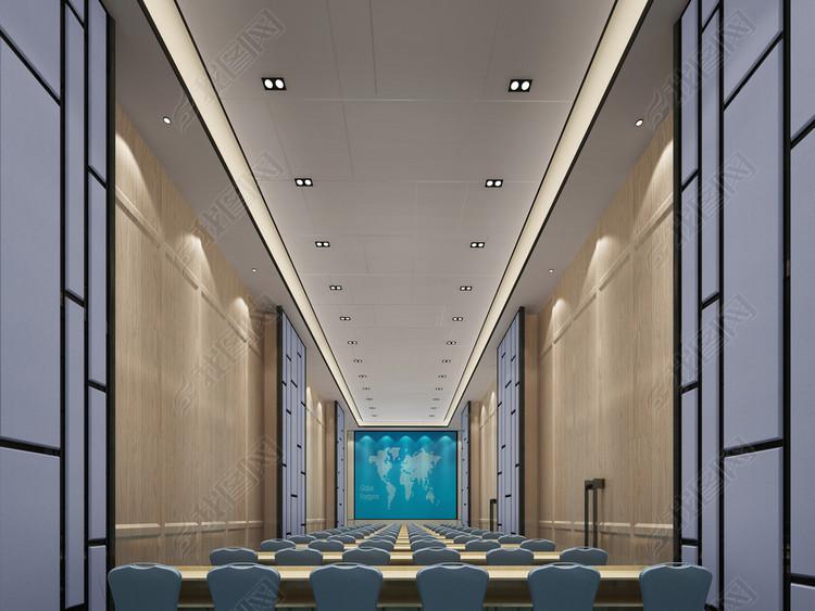 2018室内宴会厅3D模型简约风格室内设计
