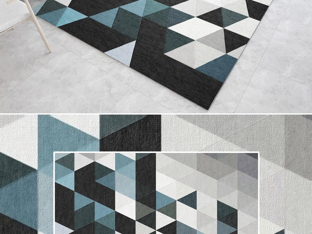 现代蓝色简约北欧3d立体几何地毯图案设计图片