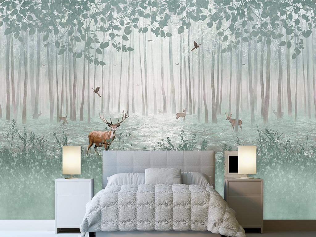 手绘树林梅花鹿背景墙