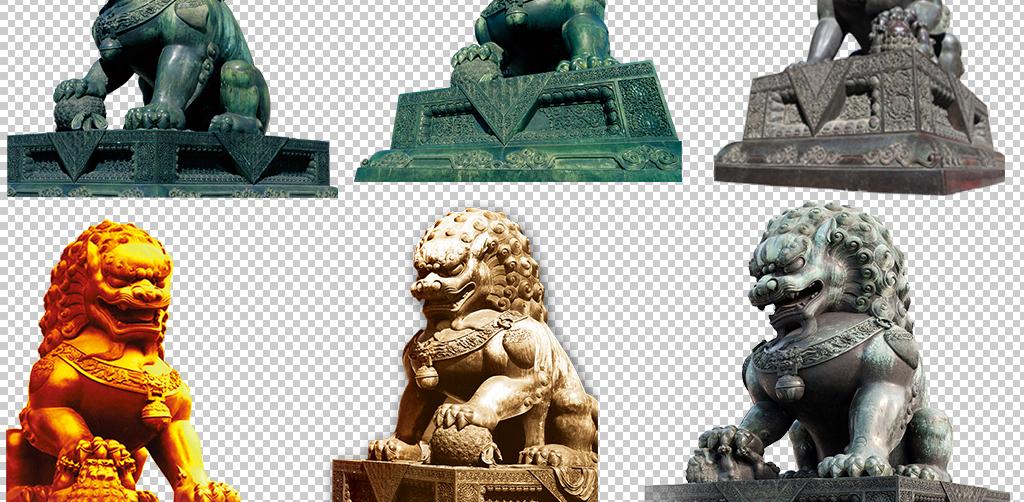 中国风复古石狮子雕塑png素材图片