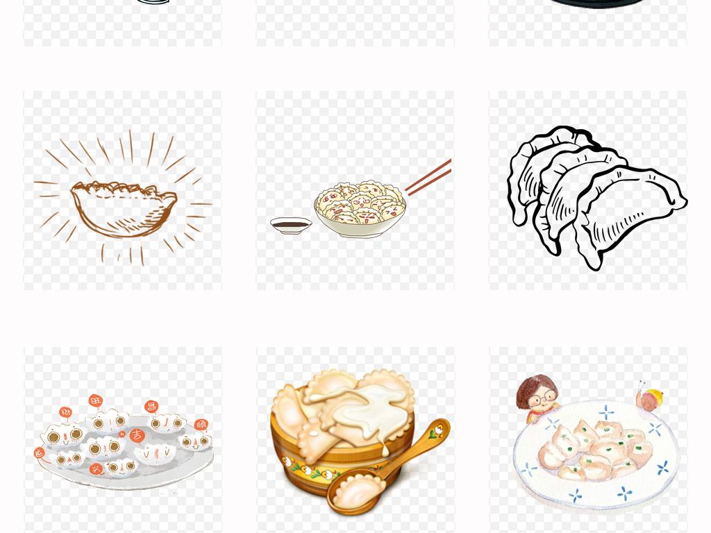 可爱卡通手绘水饺美味饺子美食海报设计png免扣素材
