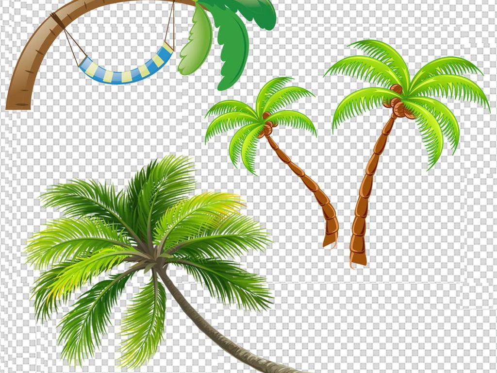 夏天清凉夏日沙滩椰子树png透明背景素材