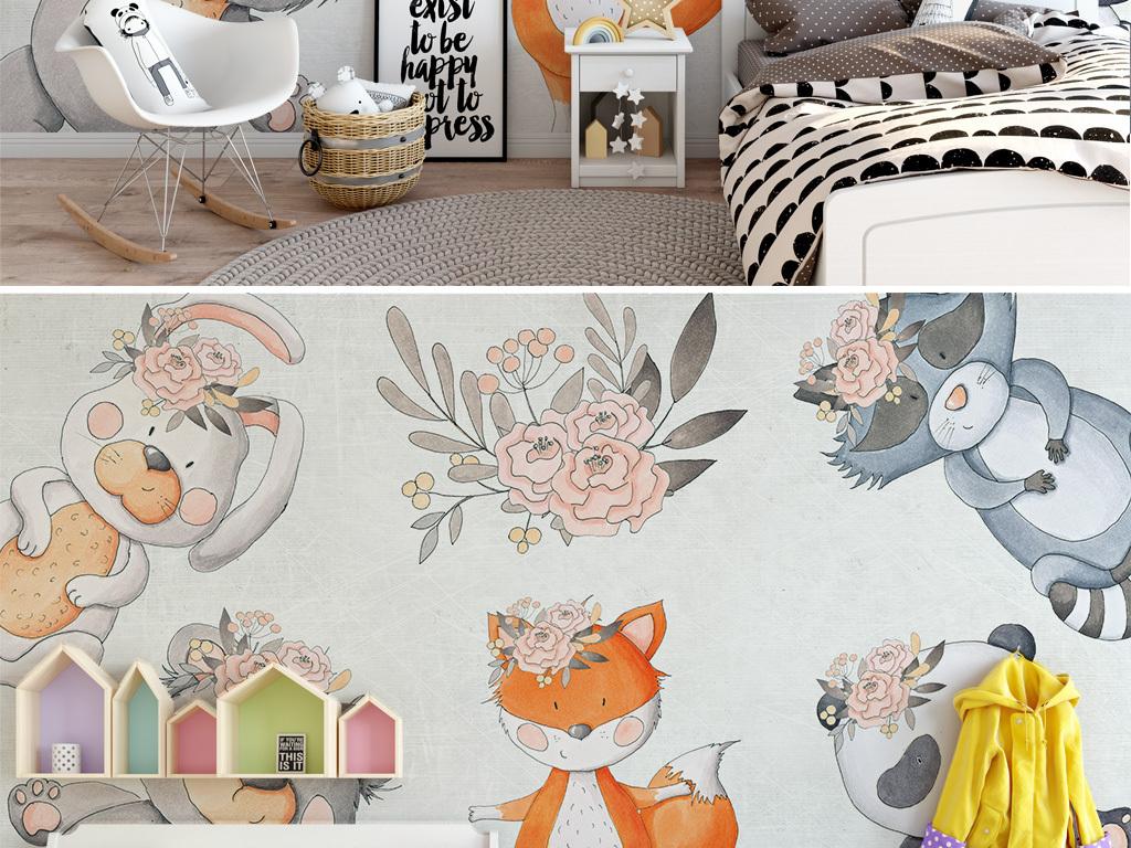 北欧现代简约手绘可爱动物兔子儿童房背景墙