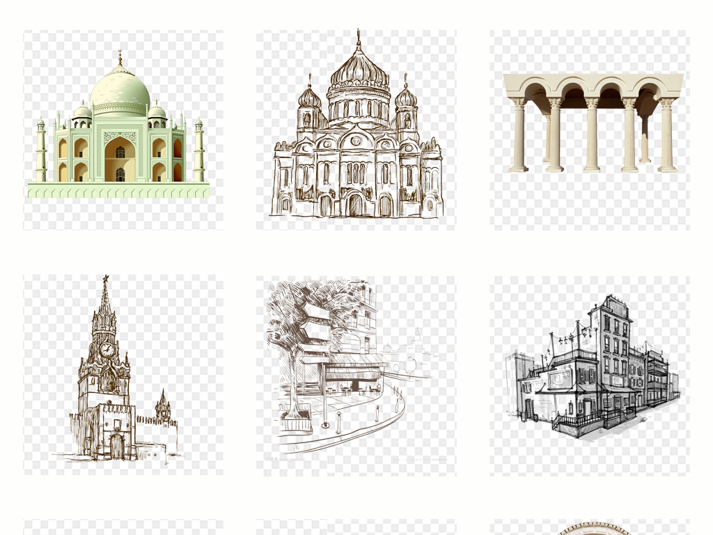 手绘欧洲城市建筑素描线稿png素材