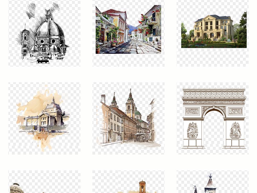 手绘线条欧洲城市建筑png免扣素材