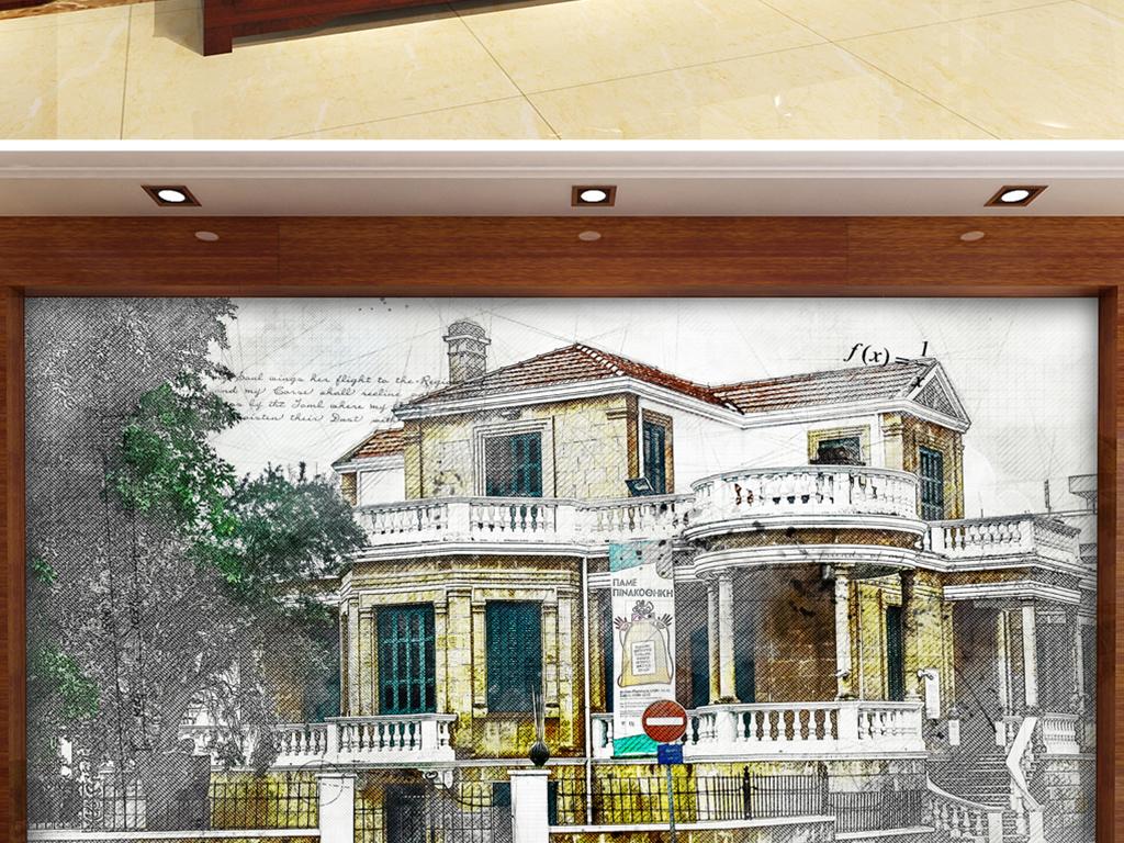 手绘文艺复兴哥特式别墅