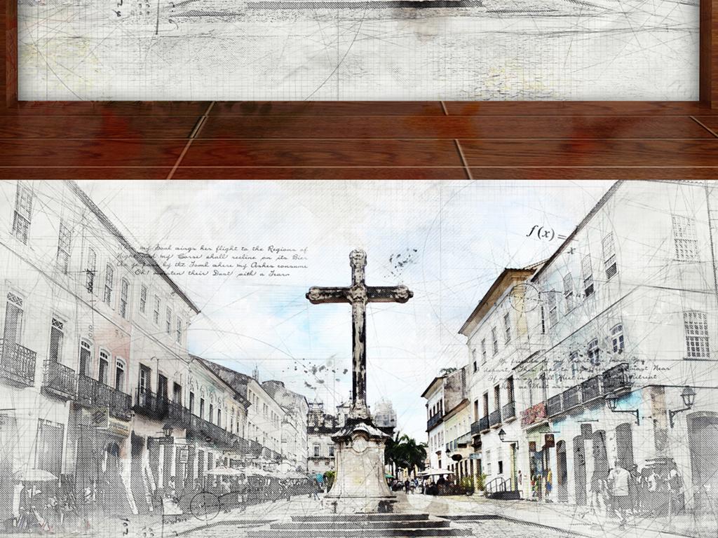 手绘文艺复兴哥特式十字架