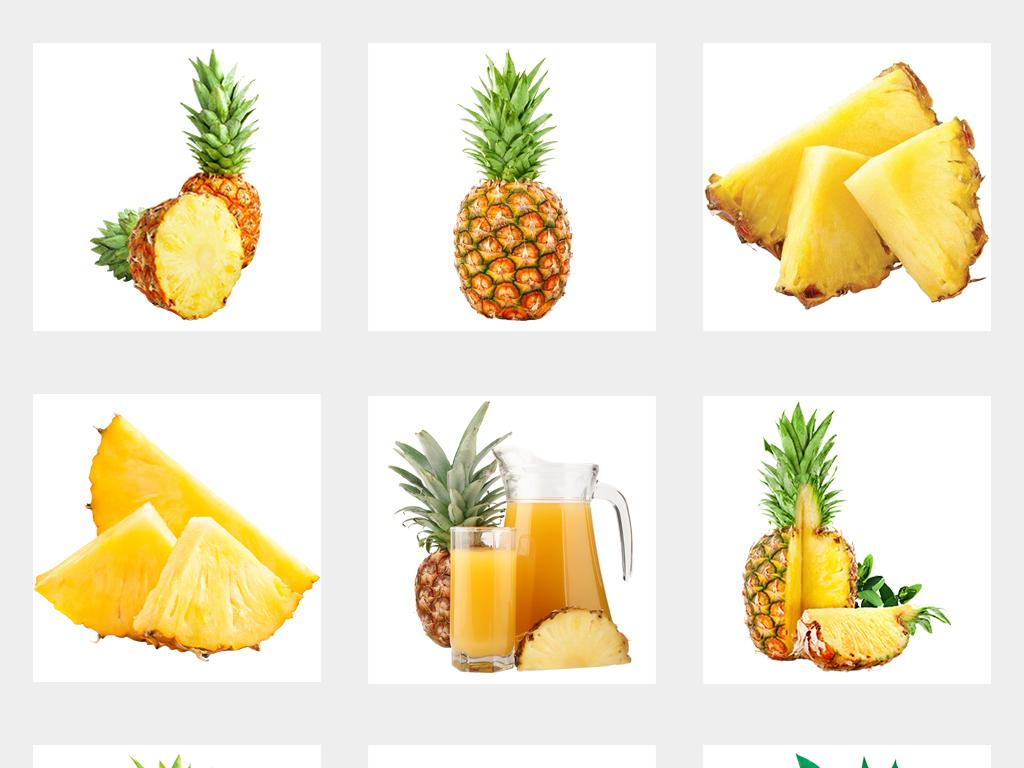 新鲜实物手绘菠萝台湾凤梨水果海报png素材