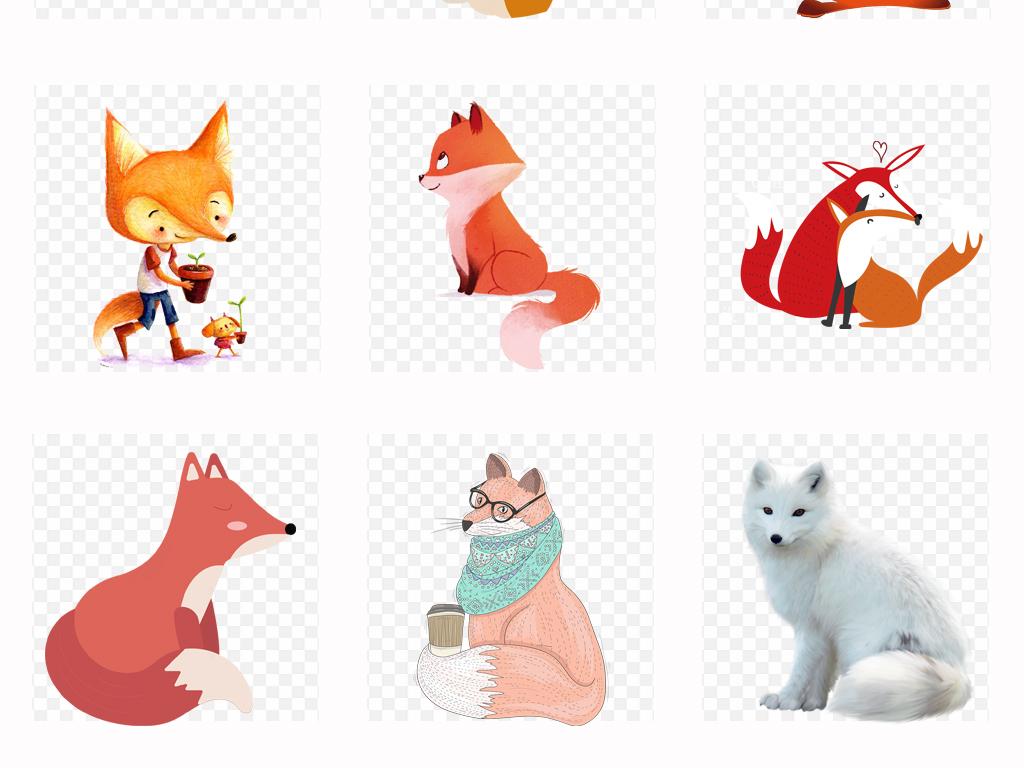 可爱卡通手绘狐狸水彩狐狸动物海报设计png素材