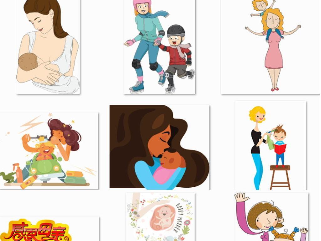 卡通手绘母亲节母温馨亲情五月海报背景png素材