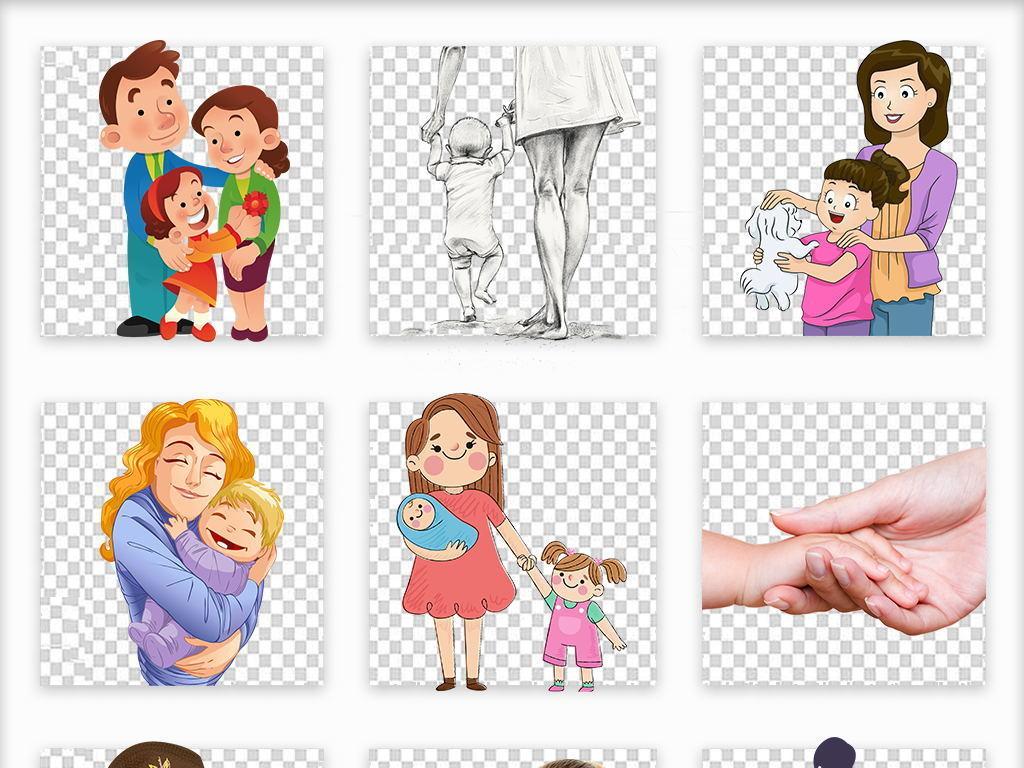 母亲节卡通手绘温馨亲情母女妈妈png素材