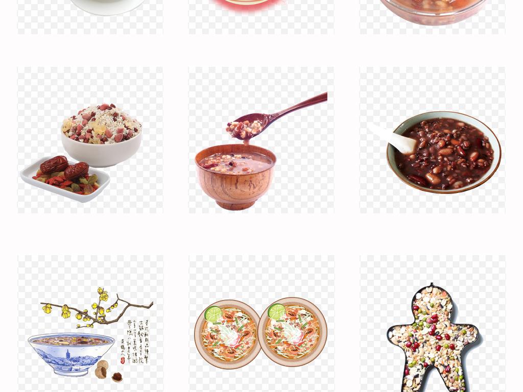 手绘腊八粥八宝粥实物美食海报png素材