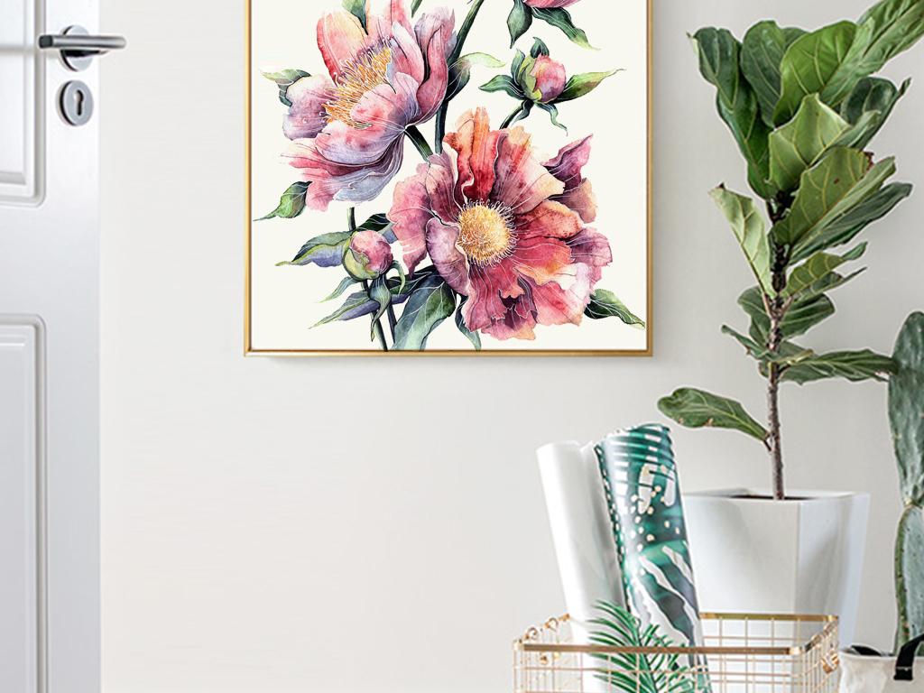 背景墙 电视背景墙 手绘电视背景墙 > 北欧ins风水彩手绘玫瑰花卉玄关