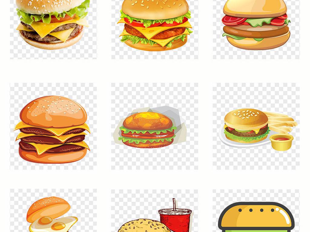 食物快餐麦当劳德克士手绘包图片制作汉堡包吃汉堡人物卡通