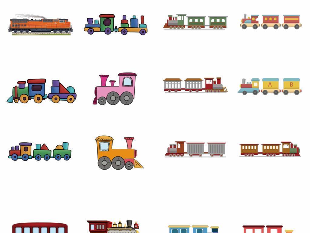 手绘彩色可爱火车列车矢量素材