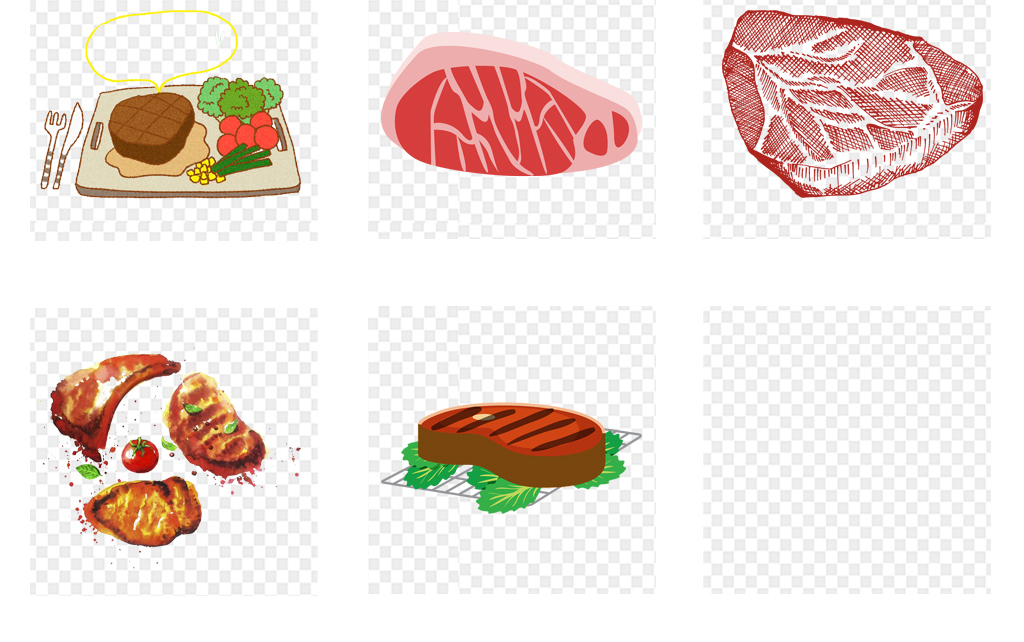西餐卡通手绘水彩牛排海报设计png元素