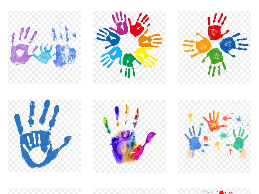 手绘彩绘彩色创意抽象手掌印png免扣素材