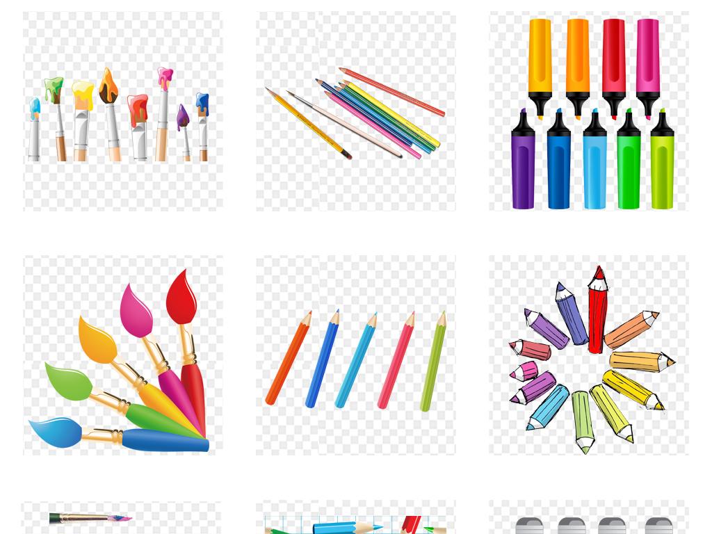 卡通彩色画笔颜料铅笔绘画工具png免扣素材