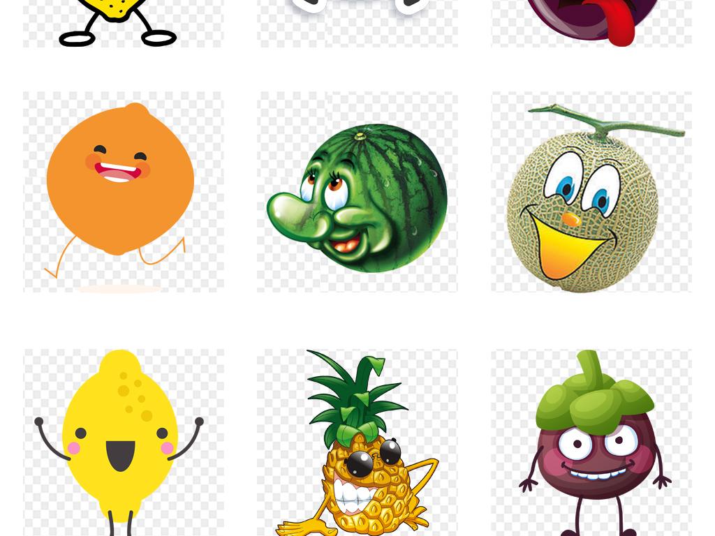 免扣元素 自然素材 实物 > 卡通可爱手绘水彩水果表情创意海报设计