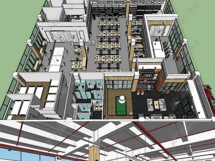 现代完整办公室空间设计SU模型