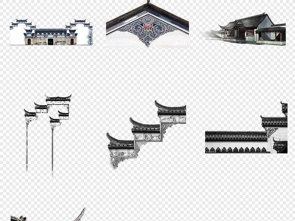50款中国风江南水乡古建筑徽派建筑水墨风景png背景