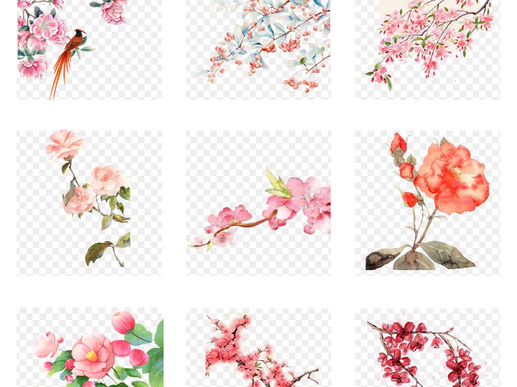 50款唯美中国古风手绘花朵花卉背景png免扣素材